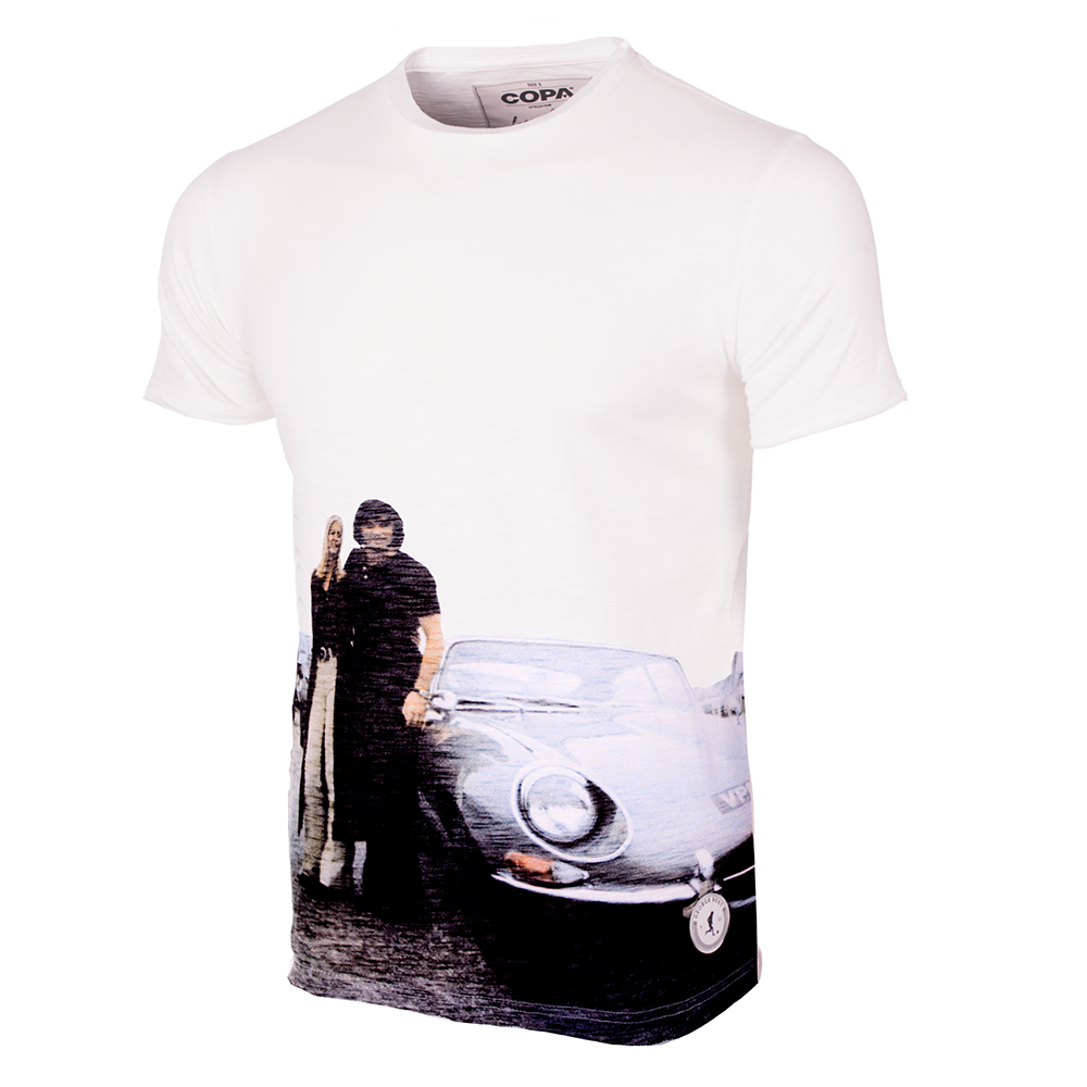 Shop George Best E Type All Over Print T Shirt White
