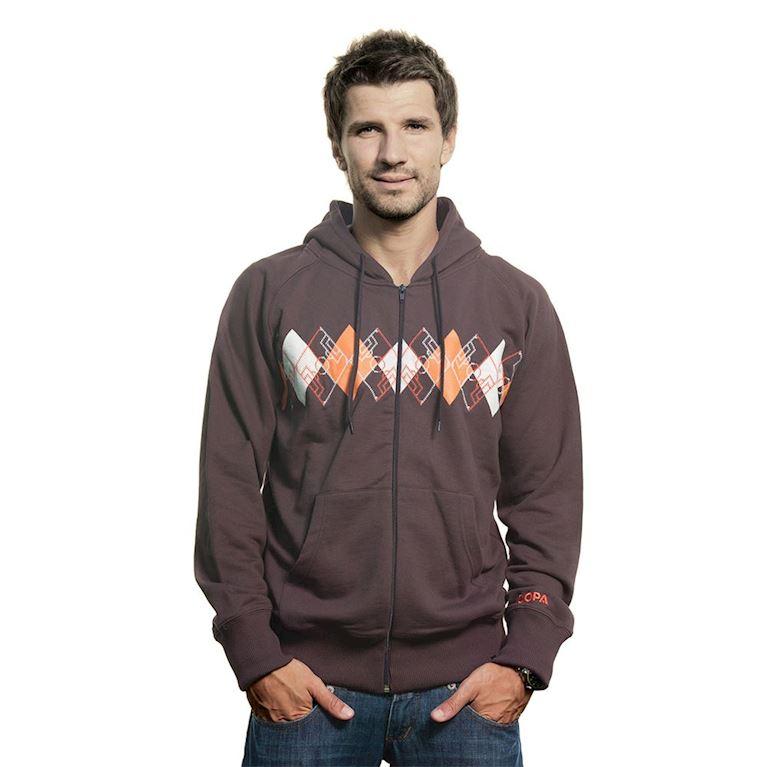 6413   Argyle Zip Hooded Sweater   Brown   1   COPA