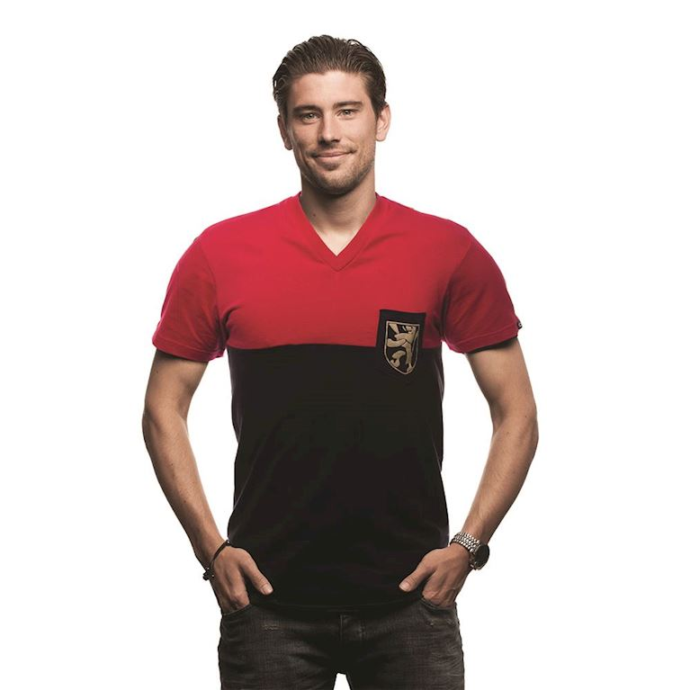 6641 | Belgium Pocket V-Neck T-Shirt | Red - Black  | 1 | COPA