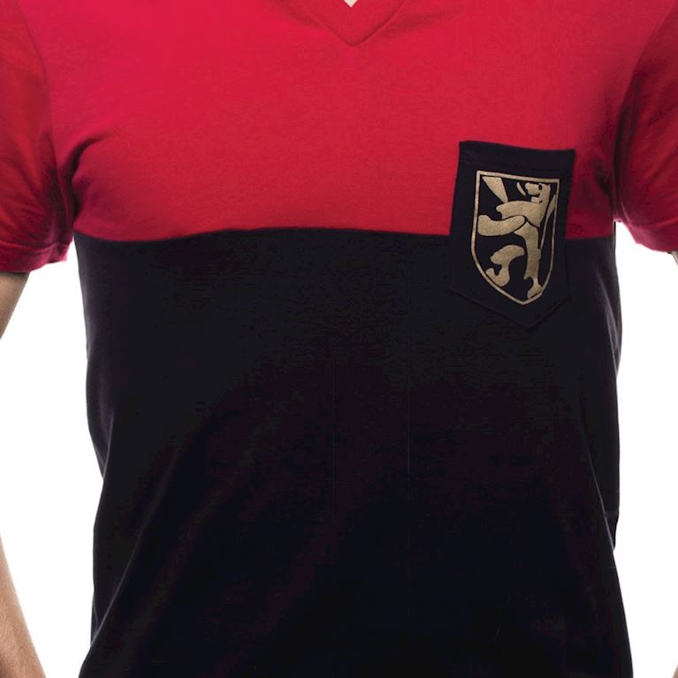 6641 | Belgium Pocket V-Neck T-Shirt | Red - Black  | 2 | COPA
