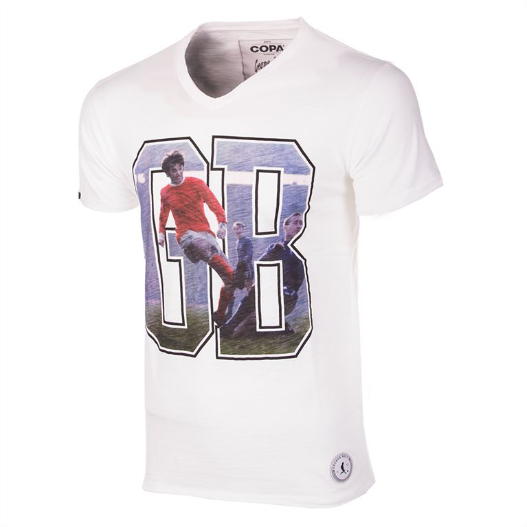 6761 | George Best GB V-Neck T-Shirt | White | 1 | COPA