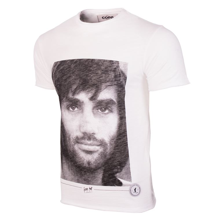 6756 | George Best Portrait T-Shirt | White | 1 | COPA