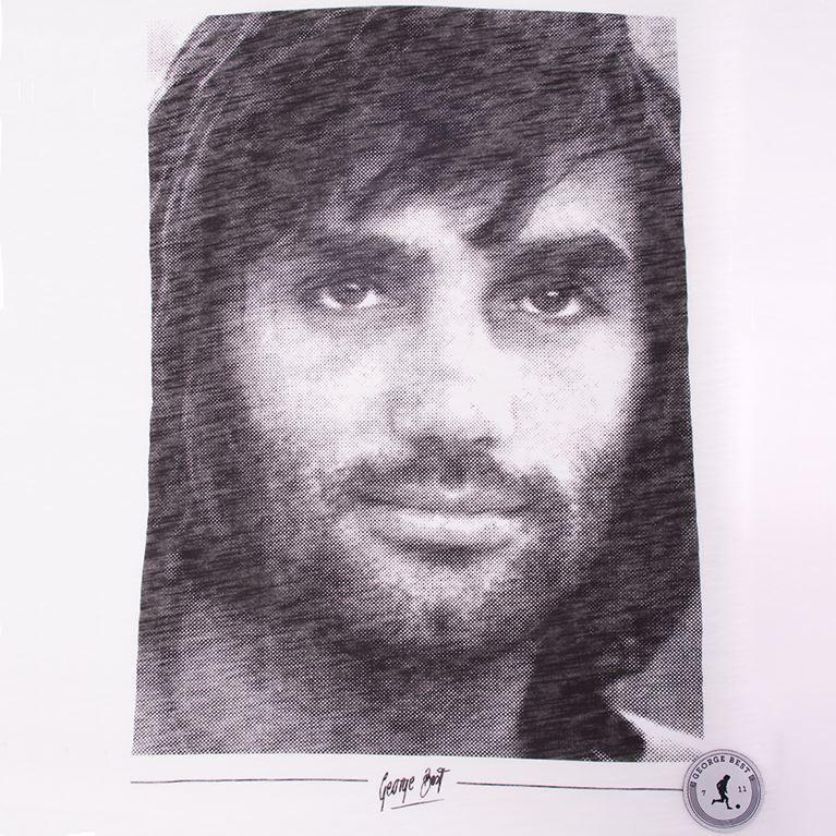 6756 | George Best Portrait T-Shirt | White | 2 | COPA