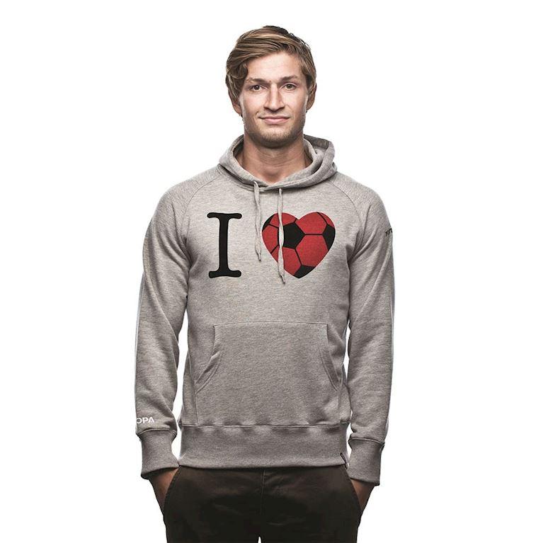6426 | I Love Football Hooded Sweater | Grey Mêlée | 1 | COPA