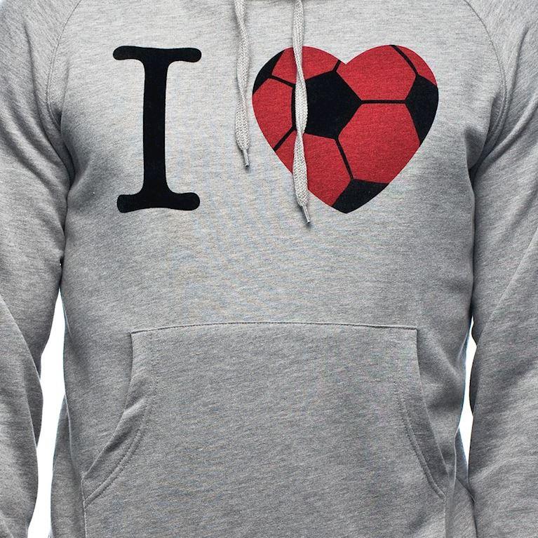 6426 | I Love Football Hooded Sweater | Grey Mêlée | 2 | COPA