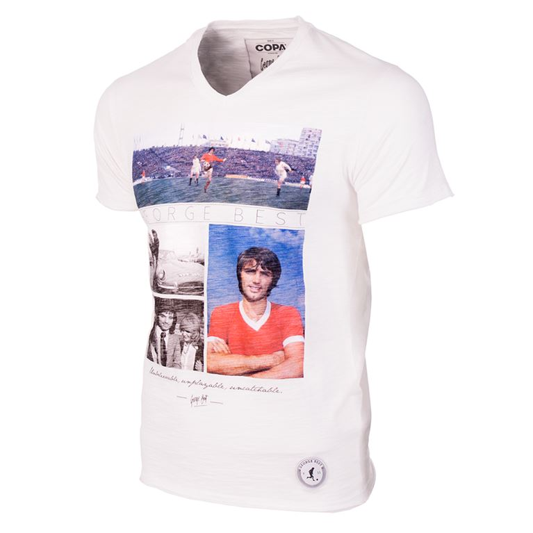 6765 | George Best Unbelievable V-Neck T-Shirt | White  | 1 | COPA
