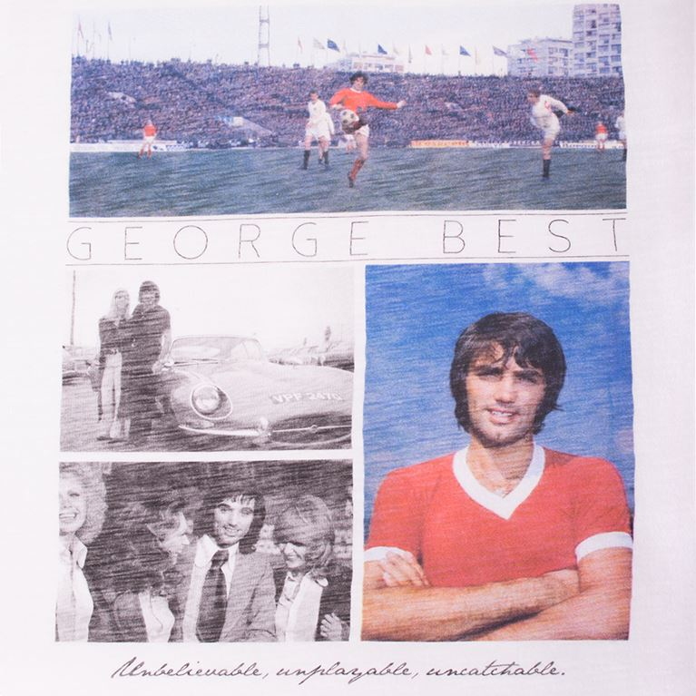 6765 | George Best Unbelievable V-Neck T-Shirt | White  | 2 | COPA