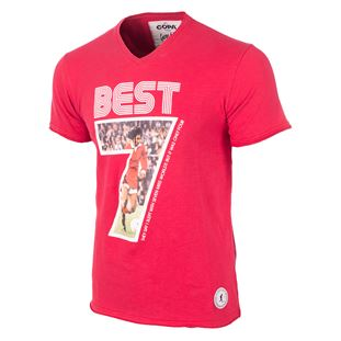 6753 | George Best Miss World V-Neck T-Shirt | Red | 1 | COPA