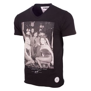 6759 | George Best Playboy Bunnies V-Neck T-Shirt | Faded Black | 1 | COPA