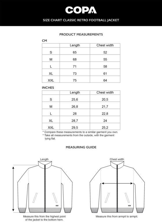 Size Chart Clic Retro Football Jacket Cm Inch